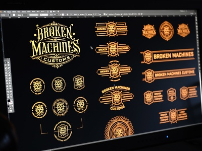Logopack for Broken Machines Customs in the making monogram icon badge sign mark branding logotype hand lettering type logo calligraphy lettering typography