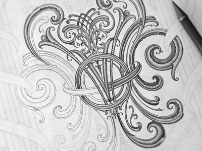 Drawing practice with ornaments ornaments oldschool paper pencil sketch wip drawing practice