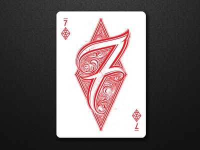 7 Diamond poker playing cards cards deck hand lettering seven collaboration typography numbers lettering