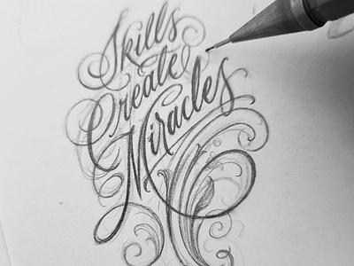 Skills Create Miracles logo design logotype logo design drawing handmade sketch handlettering hand lettering type calligraphy lettering typography