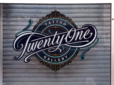 Twenty One Tattoo Gallery stickerdesign sticker icon badge tattoo branding handlettering vintage logotype hand lettering type logo calligraphy lettering typography