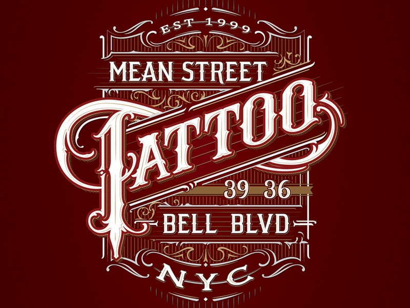 Mean Street Tattoo logo vintage ornamental sketch hand lettering concept lettering identity branding calligraphy typography