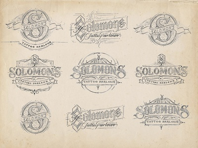 Solomon's Tattoo Parlour calligraphy typography type sketch drawing lettering hand lettering vintage apparell graphic design fashion
