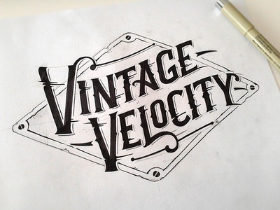 Vintage Velocity calligraphy typography type sketch drawing lettering hand lettering vintage apparell graphic design fashion