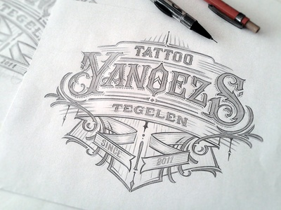 Tattoo Yanoezs calligraphy typography type sketch drawing lettering hand lettering vintage apparell graphic design fashion