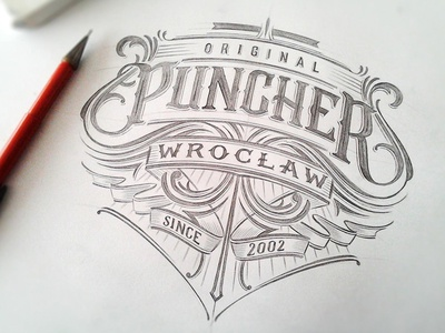 Puncher Wroclaw calligraphy typography type sketch drawing lettering hand lettering vintage apparell graphic design fashion