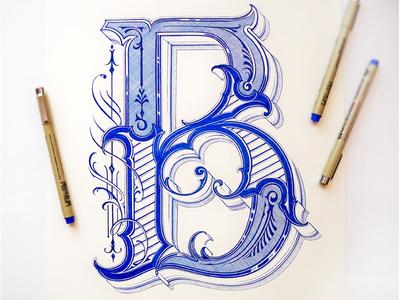 Letter B fine art ornamental graphic design drawing retro classic lettering custom lettering hand lettering lettering calligraphy tpography