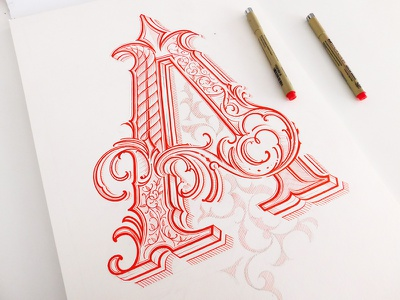 Letter A high detail pen ink detail monogram drawing lettering custom lettering calligraphy type typography