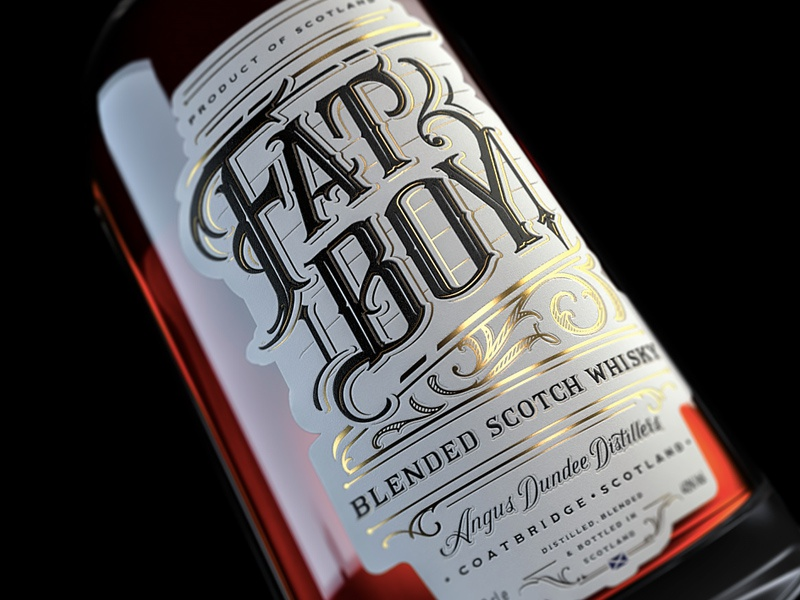 Fat Boy Whisky label handmade handlettering lettering whisky calligraphy typography classic vintage custom lettering black type