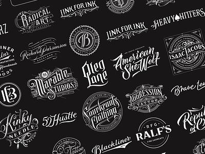 Handlettered Logotypes Vol. 5 illustrator graphic design customlettering branding calligraphy typography handlettering letterin logopack logotype logo