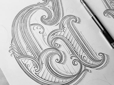 G design sketch pencil detail dropcap capital letter letter customlettering lettering typography handlettering