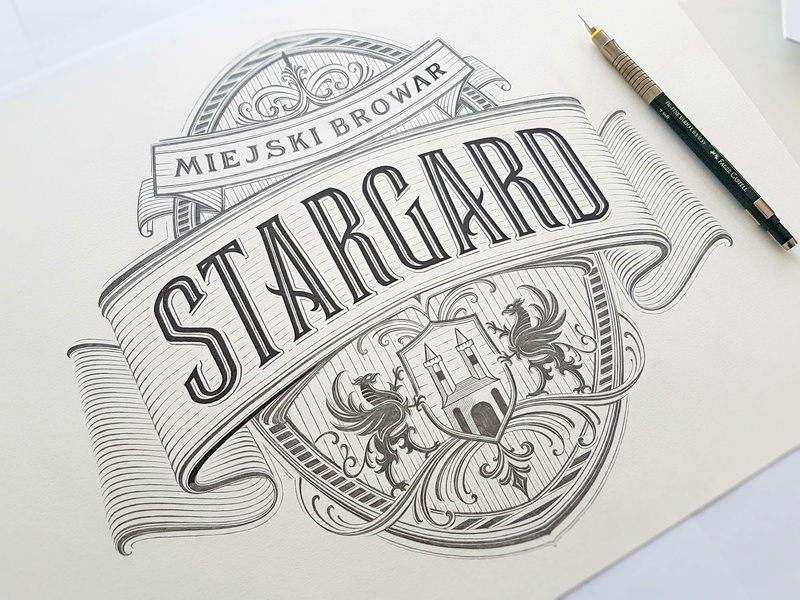 Stargard Brewery icons badge beer branding vintage logotype hand lettering type calligraphy logo lettering typography