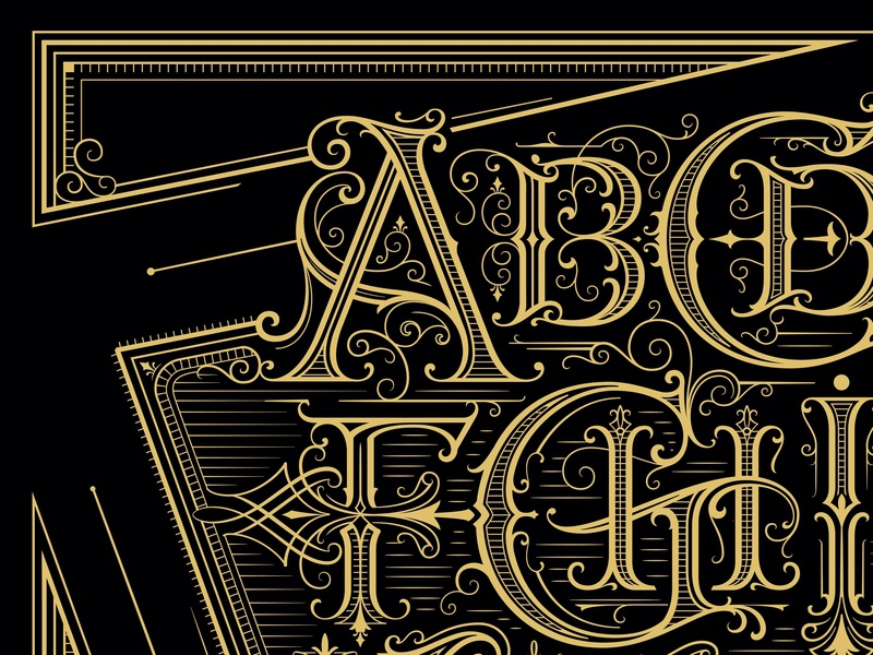 Alphabet poster original art details shapes drawing handmade custom lettering handlettering vintage hand lettering type calligraphy lettering typography