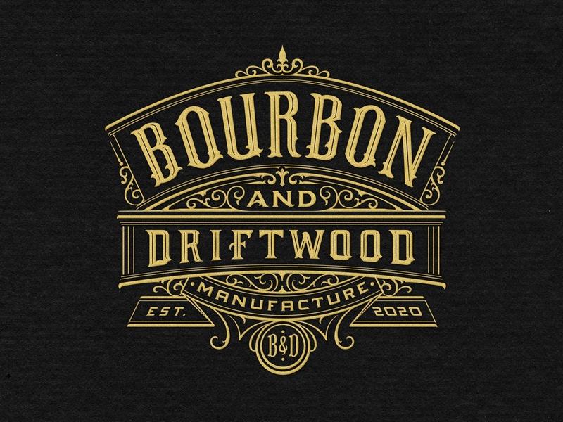 Bourbon and Driftwood graphic design gold mark classic sign retro identity handmade custom lettering branding handlettering vintage logotype hand lettering type logo calligraphy lettering typography