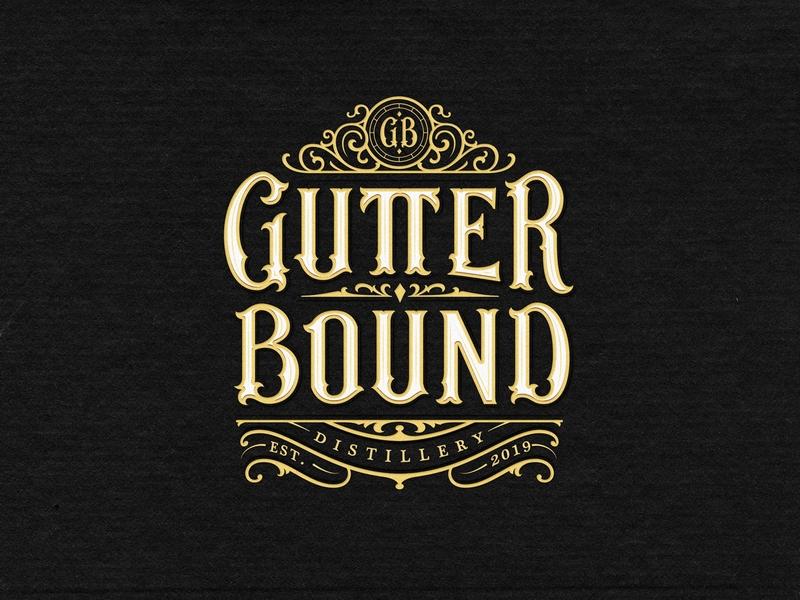 Gutter Bound Distillery alcohol bewerage packaging vodka rum whisky classic sign identity custom lettering branding handlettering vintage logotype hand lettering type logo calligraphy lettering typography
