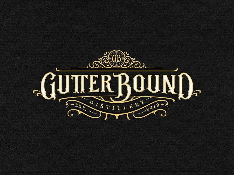 Gutter Bound Distillery bourbon rum vodka distillery whisky mark retro identity handmade custom lettering branding handlettering vintage logotype hand lettering type logo calligraphy lettering typography