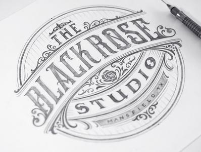 Black Rose Studio branding handlettering vintage logotype hand lettering type logo calligraphy lettering typography