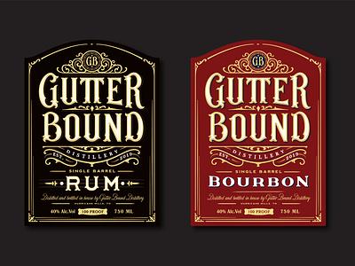 Gutter Bound Distillery labels bourbon rum beverage bottle distillery label vintage logotype hand lettering type logo calligraphy lettering typography