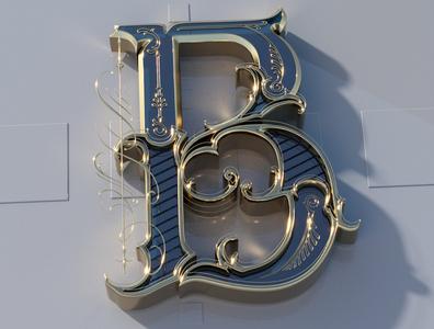 B 3d renders render 3d art 3d vintage hand lettering type logo calligraphy lettering typography