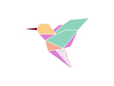 Origami hummingbird logo hummingbird origami bird illustration
