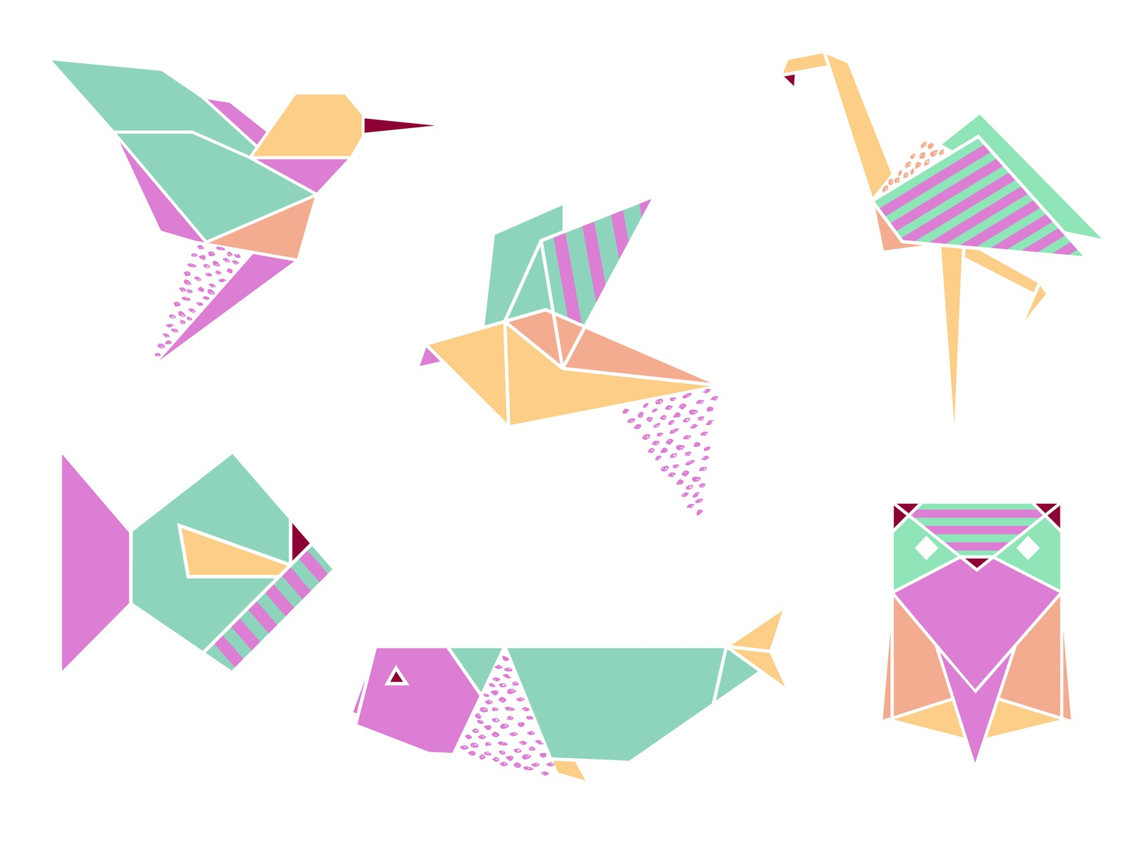 Origami Set By Krystsina Kosyrava Dribbble