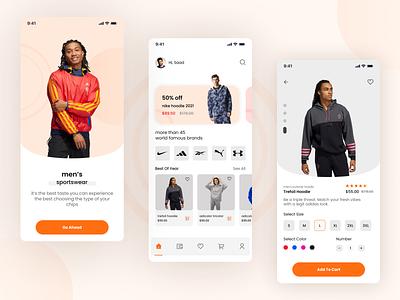 Sporty Fashion App shop online store store e-commerce fashion brand ios stylish product fashion app figma fashion illustration icon app typography ux branding ui design