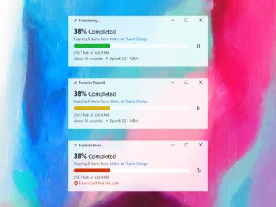 Windows 10 File Transfer UI Redesign (Fluent Design) light theme