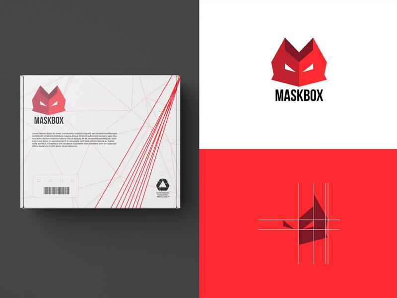 Mask Box logo minimal graphic logos web branding logo illustration icon design