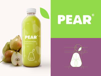 Pear Juice Logo flat food vector graphic logos web branding logo icon design