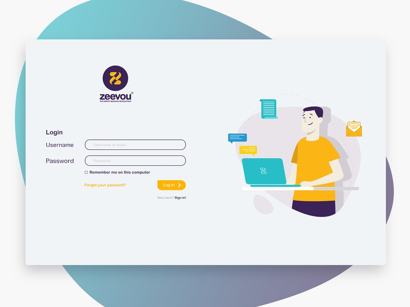 Login page for Zeevou Website illustrator design app vector flat web ui illustration