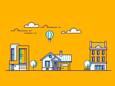 Houses in the neighborhood household house vector illustrator web flat design illustration