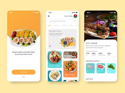 Cookbook App UI Design adobe xd adobexd app design application app recipe nutrition meal prep food information concept tasty foodstuff cuisine cooking app cooking