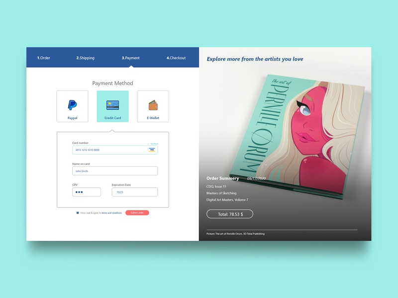 Online Bookstore Payment page ecommerce online shop book icon payment method paypal payment form ui design