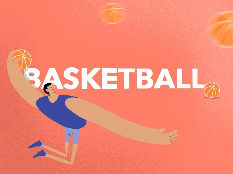 Basketball player basketball procreate flat illustration design