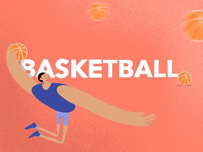 Basketball player basketball procreate flat illustration design