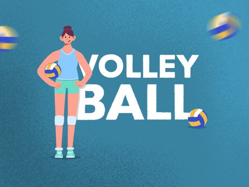 Volleyball girl volleyball sport minimal flat illustration procreate design