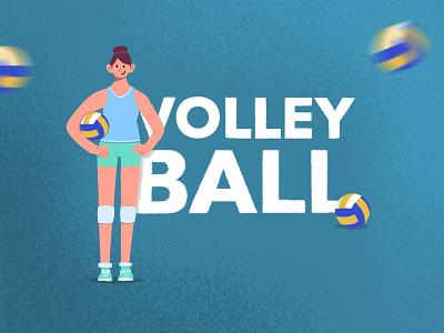Volleyball girl volleyball sport minimal flat illustration procreate design