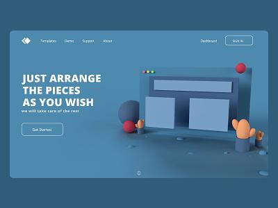 3D Home page design ux adobe dimension dimension design ui website photoshop adobe xd adobexd 3d
