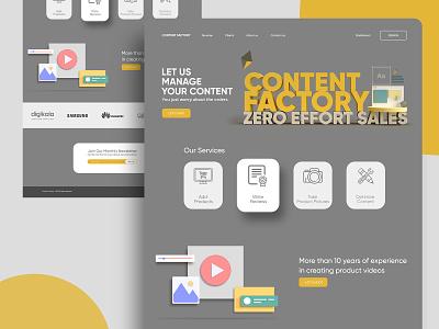 Content Factory Landing Page ecommerce content landingpage landing page website 3d dimension adobe dimension adobe xd branding adobexd ux ui design