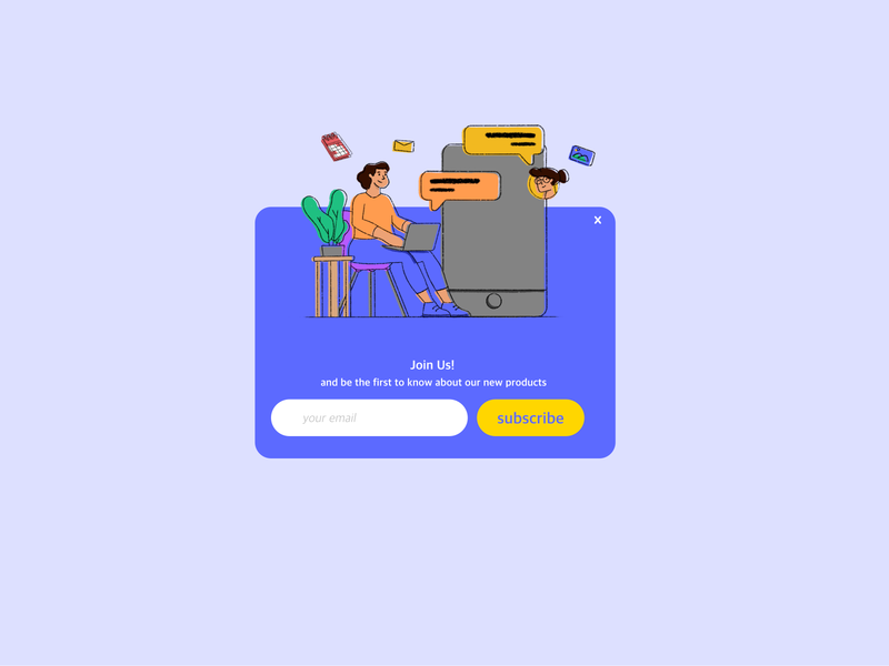 Website Subscribe Pop up subscribe form subscription subscribe popup website character adobe xd adobexd procreate ui design illustration
