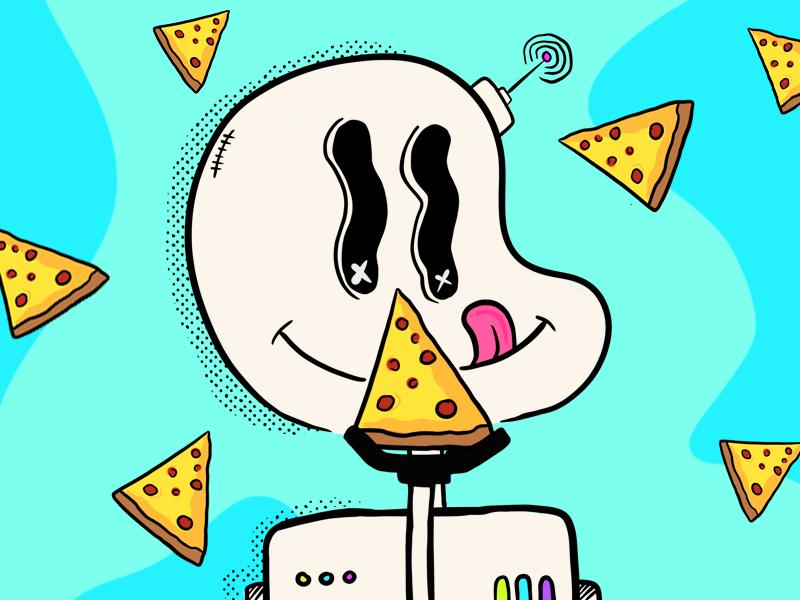 Pizza Bot procreate doodle procreate art vector animation illustration flat design