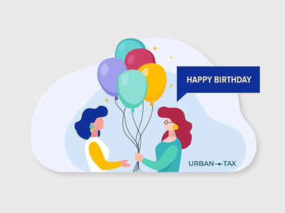 Vector illustration for Urban tax tax blue postcard mail birthday yellow green illustration women balloons 2d color flat vector happy birthday
