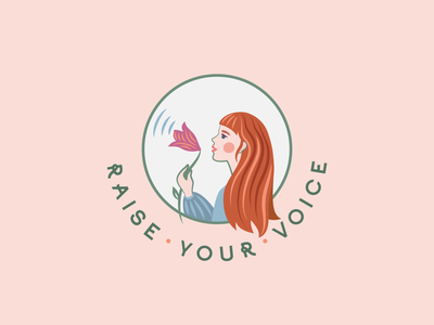 Logo for Raise your Voice company art blue orange happy free beauty voice nature green branding color vector feminist pink flowers woman logo