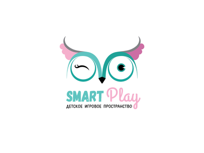 Logo for Smart Play wacom cute funny smart eyes play illustration kids owl pink menthol vector