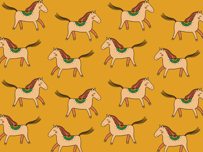 Pattern for Konnaya Dacha children wood orange funny photoshop intuos wacom countryside village nature horse print pattern
