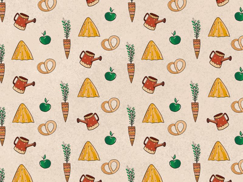 Pattern for Konnaya Dacha logo brand funny kids sketch yellow country style village photoshop pattern illustration intuos wacom