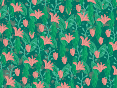 Spring pattern ecological tree forest garden nature pink green spring flowers background photoshop intuos wacom pattern