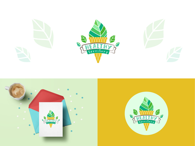 Logo for eco-shop Healthy Territory nature leaves logotype vegan tasty ice cream branding vegetarian green healthy eco ecology logo