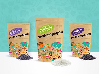 Packaging Design for Reiskampagne identity branding identity design food illustration packaging design branding cmyk print