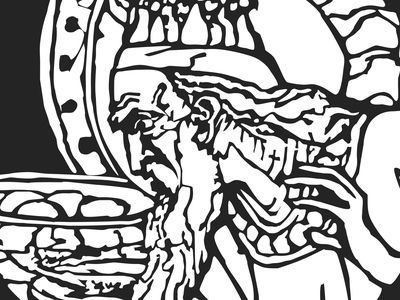King Midas Illustration black and white character illustration